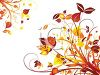 Fall Leaves and Swirls Background clipart