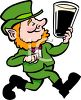 Cartoon Leprechaun Holding a Pint of Ale clipart