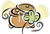 Pot of Gold with a Four Leaf Clover clipart