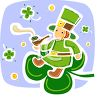 Leprechaun Sitting on a Shamrock Smoking a Pipe clipart