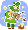 Leprechaun Playing a Fiddle clipart