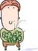 Irish Boy Holding Shamrocks clipart