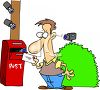 Cartoon of a Man Under Surveillance at the Post Box clipart