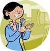 Cartoon of a Female News TV Reporter on Camera clipart