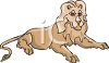 Cartoon of a Lion Laying Down clipart