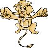 Leaping Cartoon Lion clipart