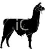 Silhouette of a Llama with a Harness clipart