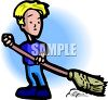 A Young Boy Sweeping clipart