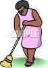 An African American Woman Sweeping The Floor With A Broom clipart