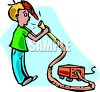 A Young Boy Vacuuming clipart