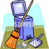 A Broom With A Dustpan And Waste Basket clipart