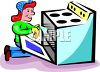 A Woman Cleaning An Oven clipart