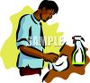 A Hispanic Man Cleaning A Counter clipart