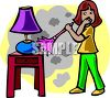A Young Girl Dusting A Table clipart