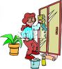 A Woman Cleaning A Sliding Glass Door clipart