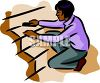 An African American Woman Cleaning Stairs clipart