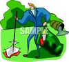 A Man In A Suit Picking Up Trash clipart