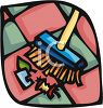 A Broom Sweeping Up Trash clipart
