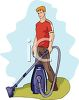 A Man With A Vacuum Cleaner clipart
