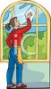 A Woman Washing A Window clipart