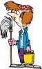 A Cartoon Woman With Mop And Bucket clipart
