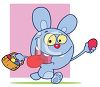 A Happy Cartoon Easter Bunny With A Basket Of Eggs clipart