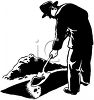 Man Filling in a Grave clipart