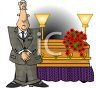 Cartoon of a Mortician Standing by a Casket clipart