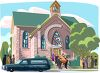 People Going to a Funeral at a Church clipart