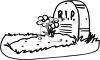Black and White Cartoon Grave with RIP on the Headstone clipart