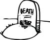 Black and White Cartoon Grave Marked Death clipart