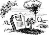Black and White Cartoon Grave Inscribed Here Lies clipart