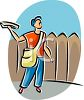 Boy Delivering Newspapers clipart