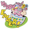 Happy Easter Cartoon with a Hairy Guy in an Easter Bunny Costume clipart
