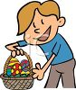 Cartoon Boy Holding an Easter Basket clipart