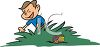 Boy Hunting Easter Eggs Cartoon clipart