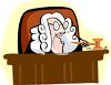 Cartoon of a British Judge Wearing a White Wig clipart