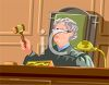Elderly Female Judge Hitting Her Gavel clipart