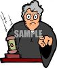 Stern Cartoon Judge Pointing at You clipart