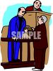 Cartoon of a Judge Watching as a Witness is Sworn In clipart