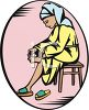 Woman Cutting Her Toenails clipart