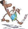 Cartoon of a Black Man Slipping on a Bar of Soap clipart
