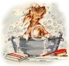 Pupping Having a Bath in a Tub clipart