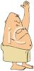 Cartoon of a Fat Man Putting on Deoderant clipart