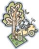 Cartoon of a Car Crashed Into a Tree clipart