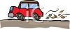 Little Cartoon Car Driving Down the Road clipart
