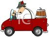 Man Driving with a Keg of Beer to an Octoberfest clipart