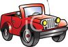 Cartoon of a Little Red Jeep clipart