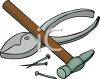 Tools-Pliers, Nails and a Tack Hammer clipart