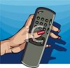 Woman's Hand Holding a Television Remote Control clipart